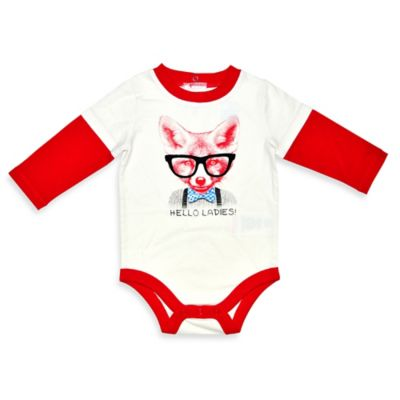 "Kidtopia Size 3M ""Hello Ladies"" Bowtie Fox Long-Sleeve 2fer Bodysuit in Red/White"