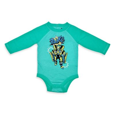 Charlie Rocket™ Size 3M Comic Book Long-Sleeve Bodysuit in Turquoise