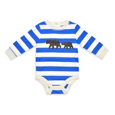 Charlie Rocket™ Size 3M Bear Stripe Long-Sleeve Bodysuit in Blue/White