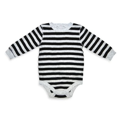 Charlie Rocket™ Size 9M Stripe Long-Sleeve Thermal Bodysuit in Black/Grey