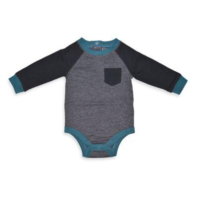 Charlie Rocket™ Size 3M Raglan Long-Sleeve Bodysuit in Black/Grey