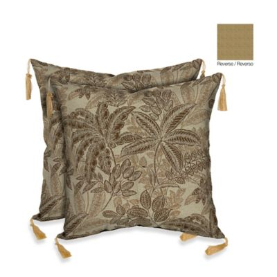 Bombay® 16-Inch Palmetto Throw Pillow in Mocha (Set of 2)