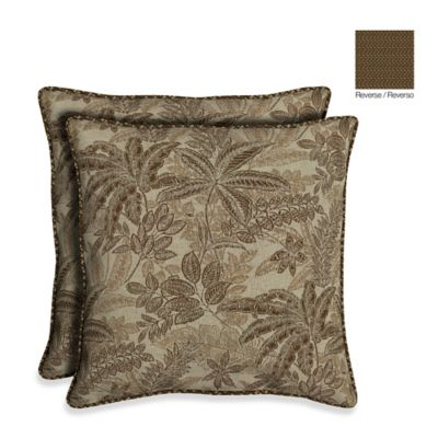 Bombay® 21-Inch Palmetto Throw Pillow in Mocha (Set of 2)
