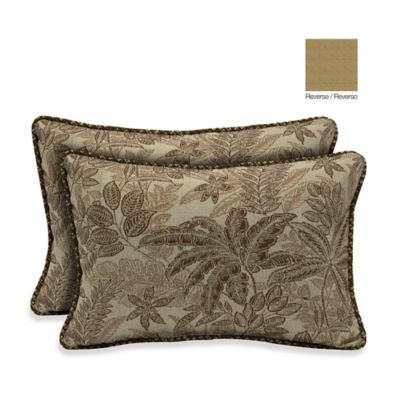 Bombay® 13-Inch x 20-Inch Palmetto Throw Pillow in Mocha (Set of 2)
