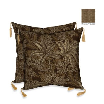 Bombay® 16-Inch Palmetto Throw Pillow in Espresso (Set of 2)