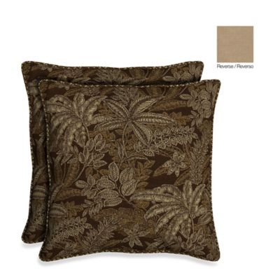 Bombay® 21-Inch Palmetto Throw Pillow in Espresso (Set of 2)