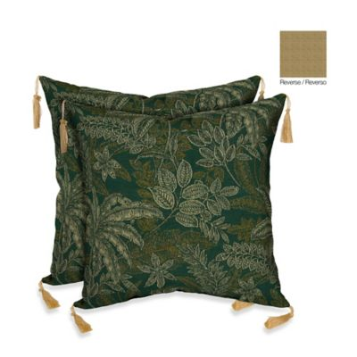 Bombay® 16-Inch Palmetto Throw Pillow in Jungle Green (Set of 2)