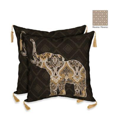 Bombay® Casablanca Elephant/Diamonds Outdoor Throw Pillow in Brown
