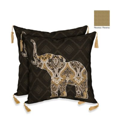 Bombay® Casablanca Elephant/Kenya Outdoor Throw Pillow in Brown