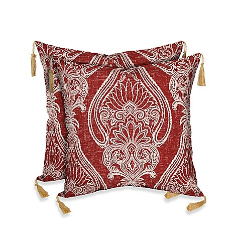 Red Paisley Outdoor Pillows 74