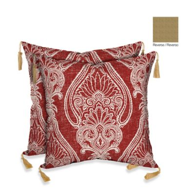 Bombay® Delhi Paisley/Kenya Outdoor Throw Pillow in Red