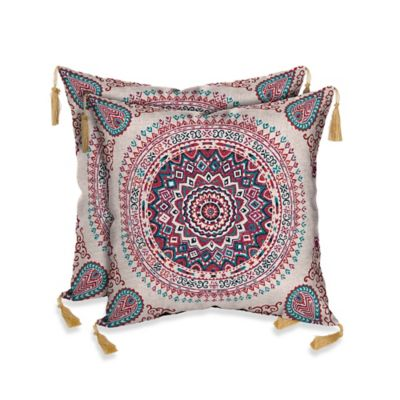Morocco Berry Outdoor Throw Pillow in Red