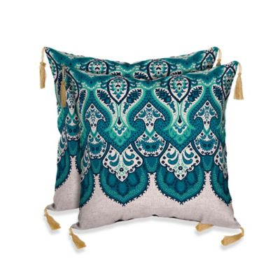 Bombay® Mumbai Paisley Outdoor Throw Pillow in Cobalt Blue