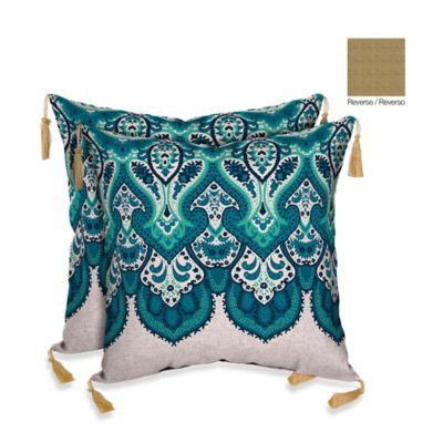 Bombay® Mumbai Paisley/Kenya Outdoor Throw Pillow in Cobalt Blue