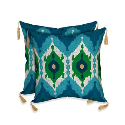 Bombay® Royal Ikat Outdoor Square Throw Pillow in Blue/Neutral (Set of 2)