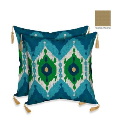 Bombay® Royal Ikat/Kenya Outdoor Square Throw Pillow in Blue/Neutral (Set of 2)