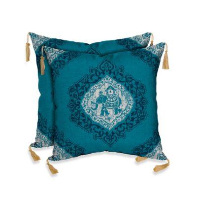Bombay® Tangier Elephant Cobalt Outdoor Square Throw Pillow (Set of 2)