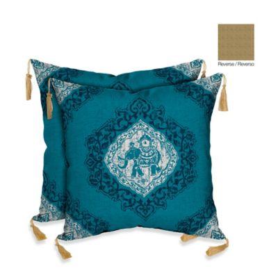 Bombay® Tangier Elephant Cobalt/Kenya Outdoor Square Throw Pillow (Set of 2)