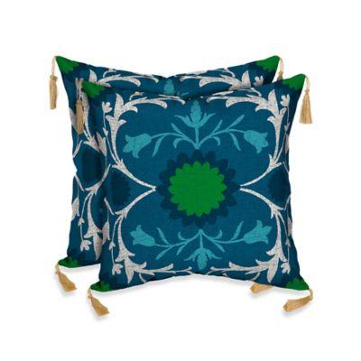 Turkish Garden Outdoor Throw Pillow in Blue
