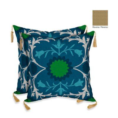 Bombay® Turkish Garden/Kenya Outdoor Throw Pillow in Blue (Set of 2)