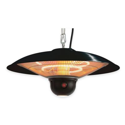 EnerG+ HEA-21522MI-B Electric Hanging Patio Heater with LED Light in Black