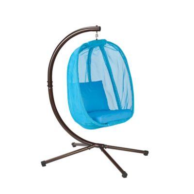 FlowerHouse Hanging Egg Chair in Light Blue Mesh