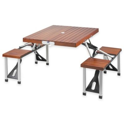 Picnic at Ascot Portable Picnic Table with Seats in Black