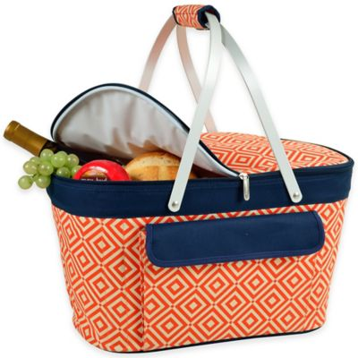 Picnic at Ascot Collapsible Basket Cooler in Blue/Orange