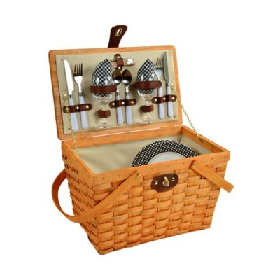 Picnic at Ascot Full Equipped Frisco Picnic Basket for 2 in Honey/Black Gingham