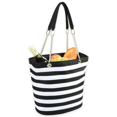 Picnic at Ascot Insulated Cooler Tote with Chain Handle in Black/White