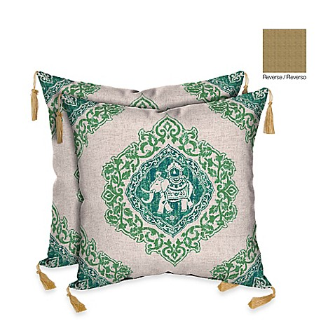 Elephant Throw Pillow Bed Bath And Beyond : Bombay Tangier Elephant Green/Kenya Outdoor Square Throw Pillow (Set of 2) - Bed Bath & Beyond