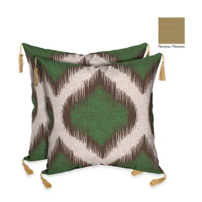 Bombay® Ikat/Kenya Outdoor Square Throw Pillow in Green/Neutral (Set of 2)