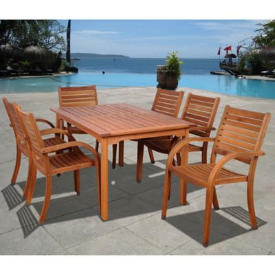Arizona 7-Piece Eucalyptus Outdoor Patio Dining Set in Natural Wood