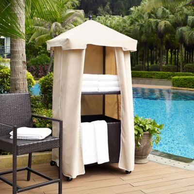 Crosley Palm Harbor Outdoor Wicker Towel Valet in Brown/Sand