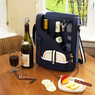 Picnic at Ascot Bold Two Bottle Wine & Cheese Cooler with Glasses