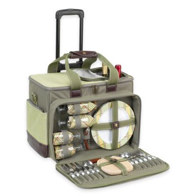 Picnic at Ascot Hamptons Deluxe Picnic Cooler for 4 with Wheels