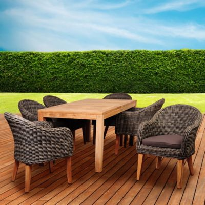 Amazonia Brynwood 7-Piece Outdoor Dining Set in Teak/Petan