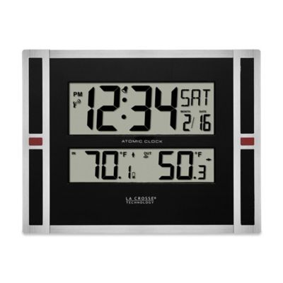 La Crosse Atomic Digital Clock with In/Out Temperature in Black