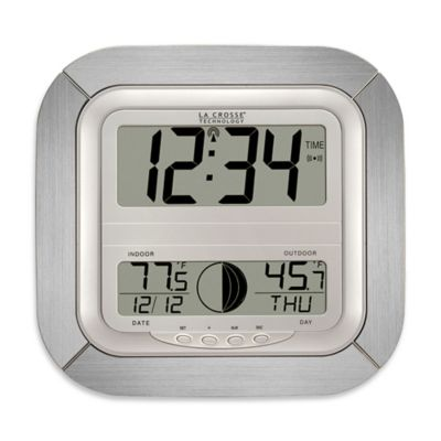 La Crosse Technology Digital Atomic Clock with Moon Phase in Silver