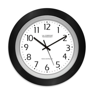 La Crosse Technology 10-Inch Atomic Analog Wall Clock in Black