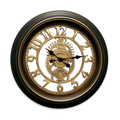 La Crosse Technology Commercial Gears Wall Clock in Black/Brown