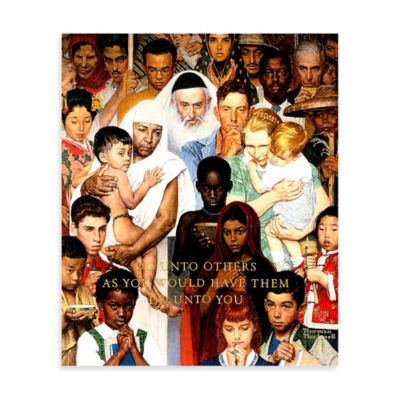 Norman Rockwell Golden Rule 30-Inch x 36-Inch Canvas Wall Art