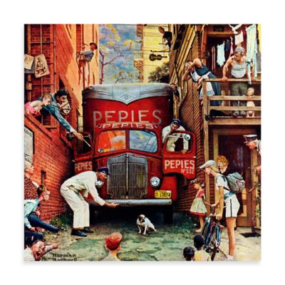 Norman Rockwell Road Block 18-Inch x 18-Inch Canvas Wall Art