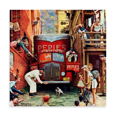 Norman Rockwell Road Block 40-Inch x 40-Inch Canvas Wall Art