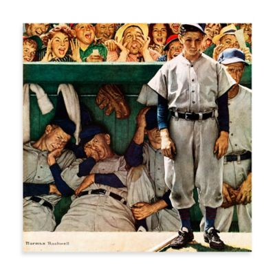 Norman Rockwell The Dugout 18-Inch x 18-Inch Canvas Wall Art