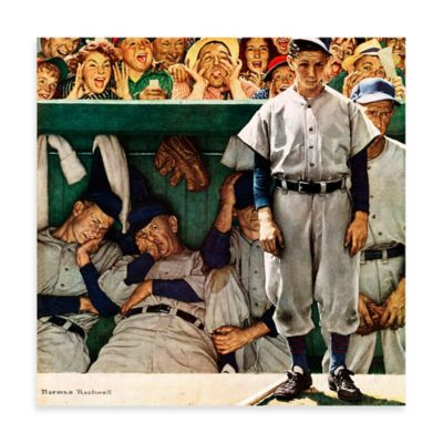 Norman Rockwell The Dugout 24-Inch x 24-Inch Canvas Wall Art
