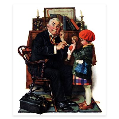 Norman Rockwell Doctor and Doll 24-Inch x 31-Inch Canvas Wall Art