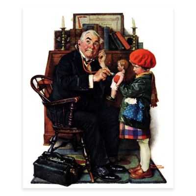 Norman Rockwell Doctor and Doll 30-Inch x 39-Inch Canvas Wall Art