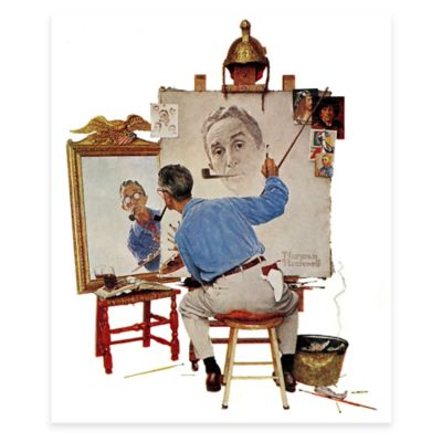 Norman Rockwell Triple Self-Portrait 30-Inch x 36-Inch Canvas Wall Art