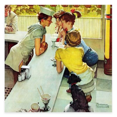 Norman Rockwell Soda Jerk 40-Inch x 40-Inch Canvas Wall Art